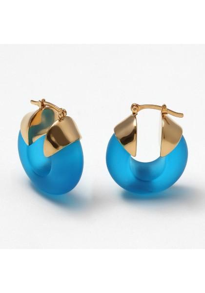 Brinco Argola Pafos Azul Clássico Fosco LOOL