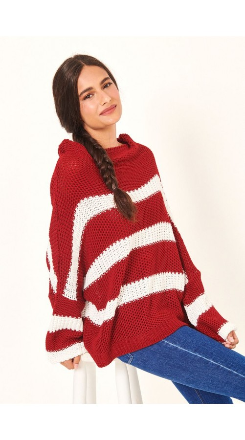 DRESS TO CASACO TRICOT LISTRAS LARGAS